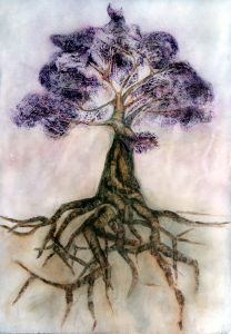 Painting of tree with purple leaves