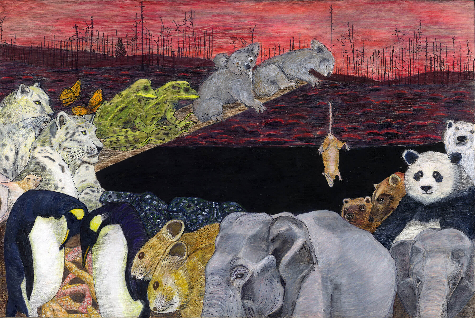 Painting of animals lining up in twos up a ramp with a rat falling off