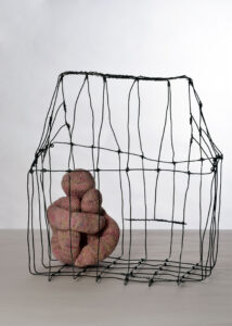 Sculpture with cage