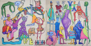 Colourful drawing of stylized people