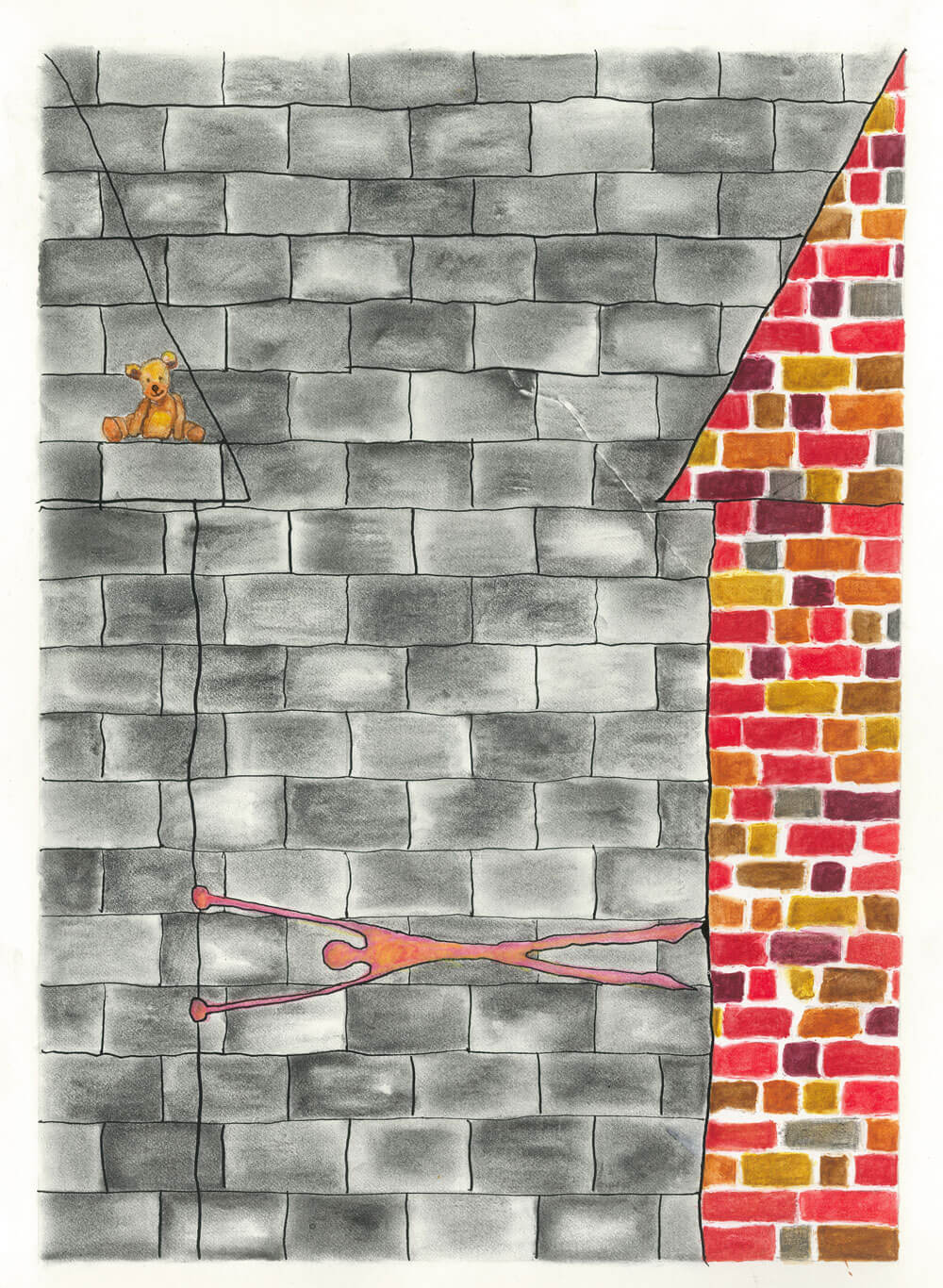mixed media image with bricks on paper