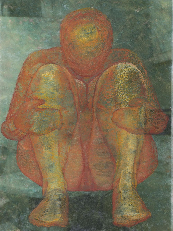 Image of orange figure over texture background